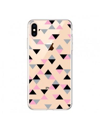 Coque iPhone XS Max Triangles Pink Rose Noir Transparente souple - Project M
