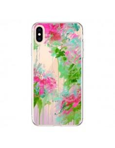 Coque iPhone XS Max Fleur Flower Rose Vert Transparente souple - Ebi Emporium
