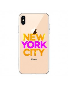 Coque iPhone XS Max New York City NYC Orange Rose Transparente souple - Javier Martinez
