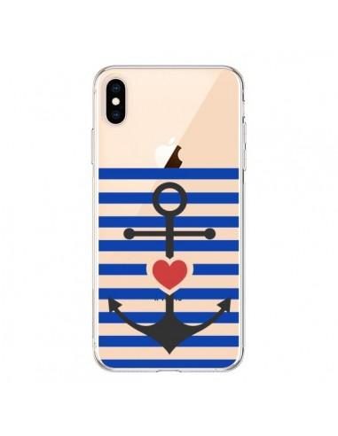 Coque iPhone XS Max Mariniere Ancre Marin Coeur Transparente souple - Jonathan Perez