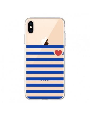Coque iPhone XS Max Mariniere Coeur Love Transparente souple - Jonathan Perez