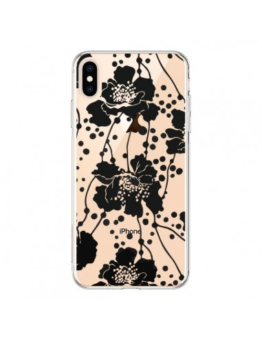 Coque iPhone XS Max Fleurs Noirs Flower Transparente souple - Dricia Do