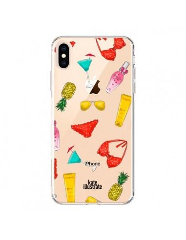 Coque iPhone XS Max Summer Essentials Ete Essentiel Transparente souple - kateillustrate