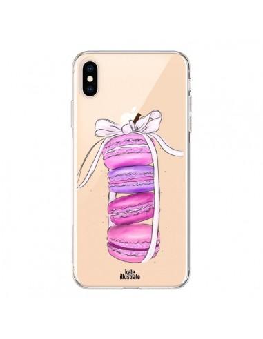 Coque iPhone XS Max Macarons Pink Purple Rose Violet Transparente souple - kateillustrate