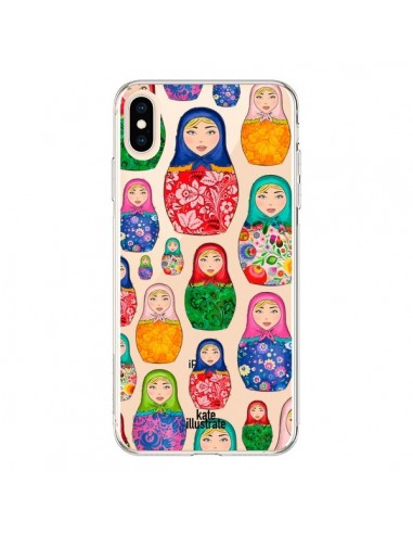 Coque iPhone XS Max Matryoshka Dolls Poupées Russes Transparente souple - kateillustrate