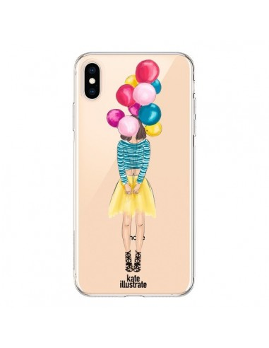 Coque iPhone XS Max Girls Balloons Ballons Fille Transparente souple - kateillustrate