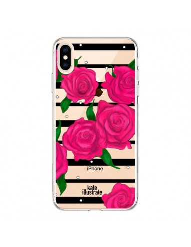 Coque iPhone XS Max Roses Rose Fleurs Flowers Transparente souple - kateillustrate