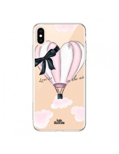 Coque iPhone XS Max Love is in the Air Love Montgolfier Transparente souple - kateillustrate
