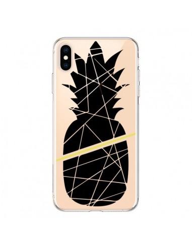 Coque iPhone XS Max Ananas Noir Transparente souple - Koura-Rosy Kane