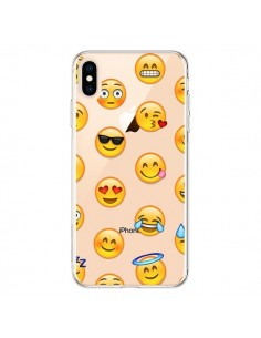 Coque iPhone XS Max Smiley Emoticone Emoji Transparente souple - Laetitia