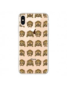 Coque iPhone XS Max Singe Monkey Emoticone Emoji Transparente souple - Laetitia