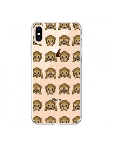 Coque iPhone XS Max Singe Monkey Emoticone Emoji Transparente souple - Laetitia