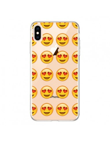 Coque iPhone XS Max Love Amoureux Smiley Emoticone Emoji Transparente souple - Laetitia