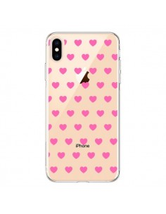 Coque iPhone XS Max Coeur Heart Love Amour Rose Transparente souple - Laetitia