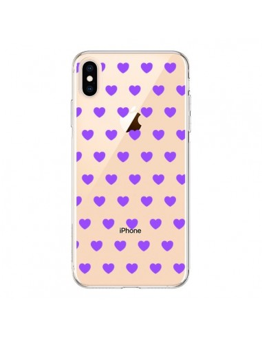 Coque iPhone XS Max Coeur Heart Love Amour Violet Transparente souple - Laetitia