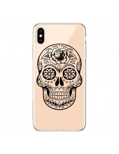 Coque iPhone XS Max Tête de Mort Mexicaine Noir Transparente souple - Laetitia