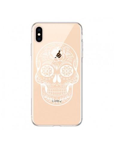 Coque iPhone XS Max Tête de Mort Mexicaine Blanche Transparente souple - Laetitia
