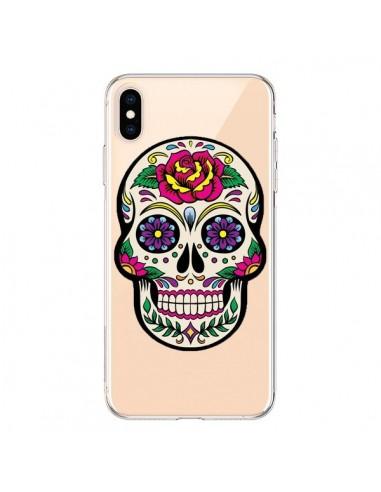 Coque iPhone XS Max Tête de Mort Mexicaine Fleurs Transparente souple - Laetitia