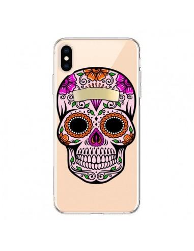 Coque iPhone XS Max Tête de Mort Mexicaine Noir Rose Transparente souple - Laetitia
