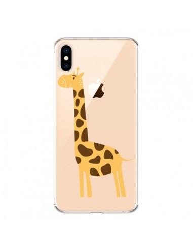 Coque iPhone XS Max Girafe Giraffe Animal Savane Transparente souple - Petit Griffin