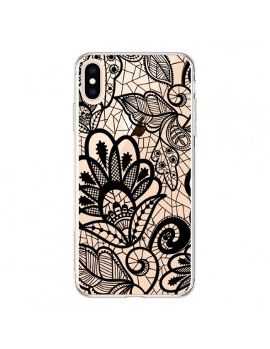 Coque iPhone XS Max Lace Fleur Flower Noir Transparente souple - Petit Griffin
