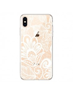 Coque iPhone XS Max Lace Fleur Flower Blanc Transparente souple - Petit Griffin