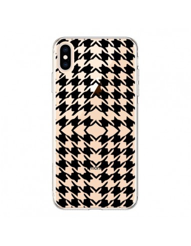 Coque iPhone XS Max Vichy Carre Noir Transparente souple - Petit Griffin