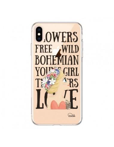 Coque iPhone XS Max Flowers Love Transparente souple - Lolo Santo