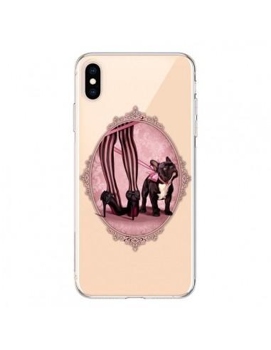 Coque iPhone XS Max Lady Jambes Chien Bulldog Dog Rose Pois Noir Transparente souple - Maryline Cazenave