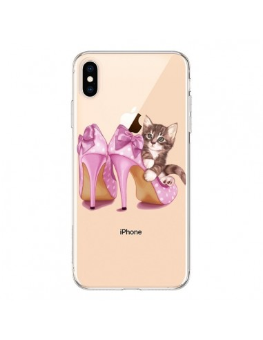 Coque iPhone XS Max Chaton Chat Kitten Chaussures Shoes Transparente souple - Maryline Cazenave