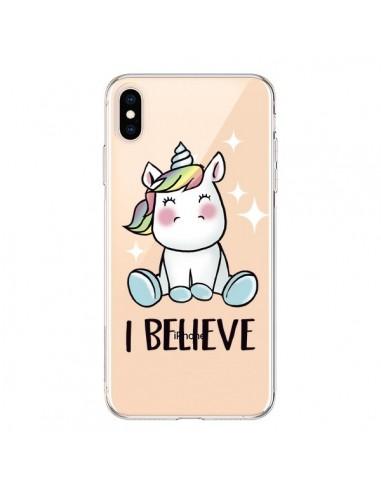 Coque iPhone XS Max Licorne I Believe Transparente souple - Maryline Cazenave