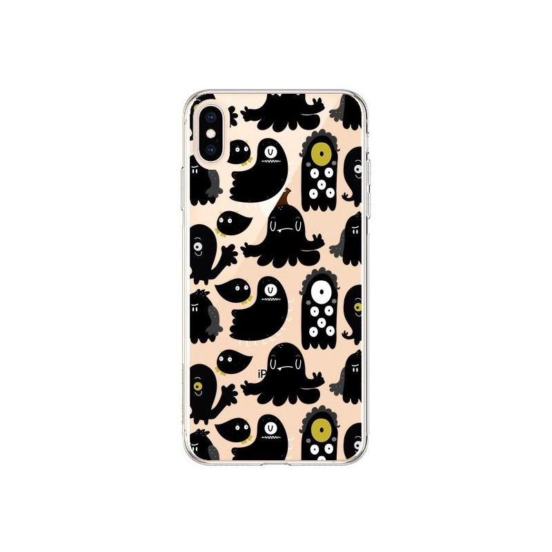 Coque iPhone XS Max Monsters Monstres Pattern Transparente souple - Maria Jose Da Luz