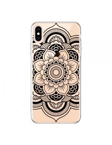 Coque iPhone XS Max Mandala Noir Azteque Transparente souple - Nico