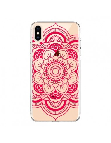 Coque iPhone XS Max Mandala Rose Fushia Azteque Transparente souple - Nico
