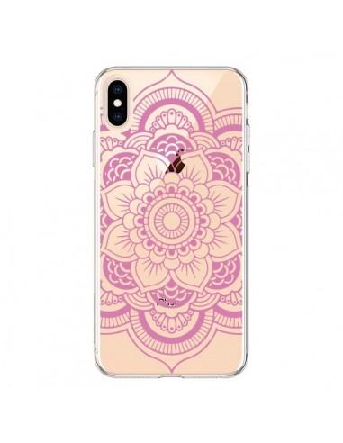 Coque iPhone XS Max Mandala Rose Clair Azteque Transparente souple - Nico