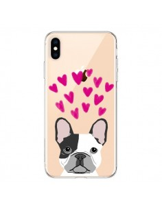 Coque iPhone XS Max Bulldog Français Coeurs Chien Transparente souple - Pet Friendly