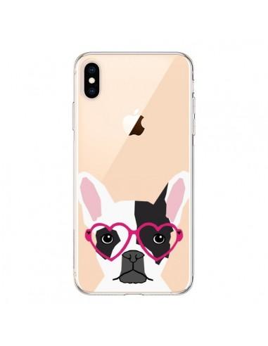 Coque iPhone XS Max Bulldog Français Lunettes Coeurs Chien Transparente souple - Pet Friendly