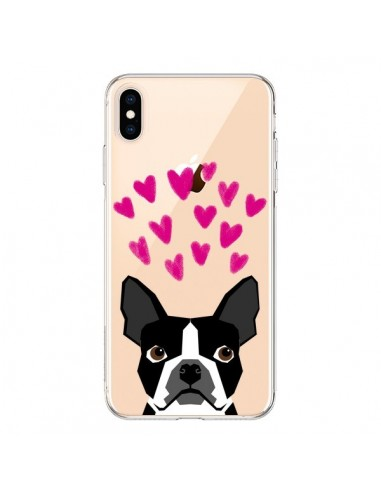 Coque iPhone XS Max Boston Terrier Coeurs Chien Transparente souple - Pet Friendly