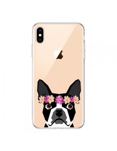 Coque iPhone XS Max Boston Terrier Fleurs Chien Transparente souple - Pet Friendly