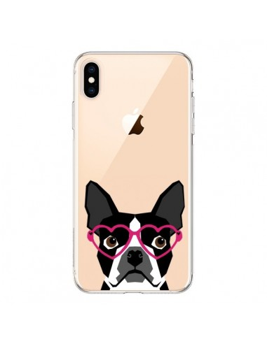 Coque iPhone XS Max Boston Terrier Lunettes Coeurs Chien Transparente souple - Pet Friendly