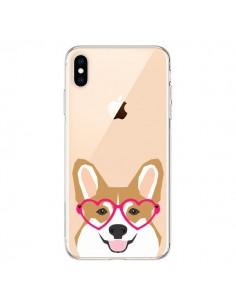 Coque iPhone XS Max Chien Marrant Lunettes Coeurs Transparente souple - Pet Friendly