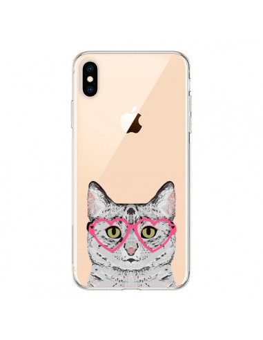 Coque iPhone XS Max Chat Gris Lunettes Coeurs Transparente souple - Pet Friendly
