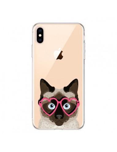 Coque iPhone XS Max Chat Marron Lunettes Coeurs Transparente souple - Pet Friendly