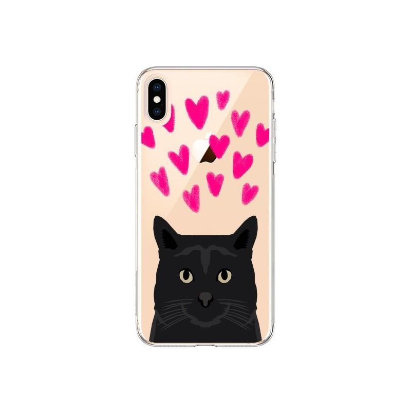 Coque iPhone XS Max Chat Noir Coeurs Transparente souple - Pet Friendly