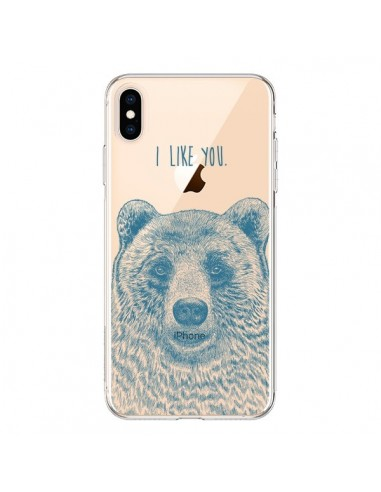 Coque iPhone XS Max I Love You Bear Ours Ourson Transparente souple - Rachel Caldwell