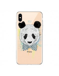 Coque iPhone XS Max Panda Noeud Papillon Transparente souple - Rachel Caldwell