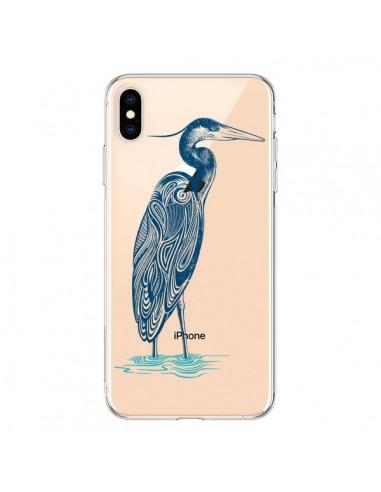 Coque iPhone XS Max Heron Blue Oiseau Transparente souple - Rachel Caldwell