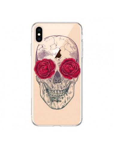 Coque iPhone XS Max Tête de Mort Rose Fleurs Transparente souple - Rachel Caldwell