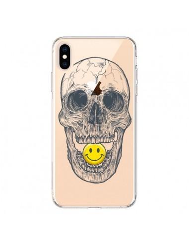 Coque iPhone XS Max Tête de Mort Smiley Transparente souple - Rachel Caldwell