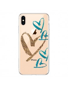 Coque iPhone XS Max Coeurs Heart Love Amour Transparente souple - Sylvia Cook